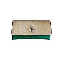 Royal Kundan Brooch Clutch - Green