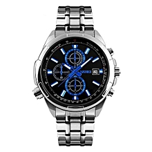 9107 Fashion Brand Waterproof Men Watch Quartz Wristwatch Men Full Steel Watches - Silver Black