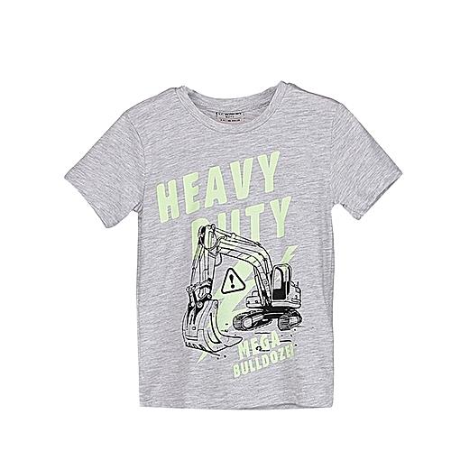 Boy Grey Solid Regular Crew Neck T-Shirt