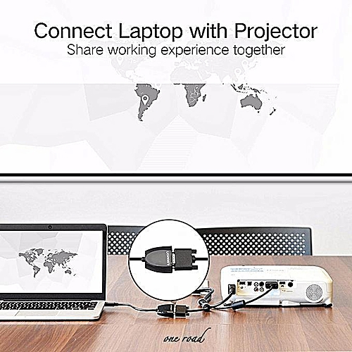 Hdmi To Vga Adapter Support 1920*1080P Compatible Laptop Projector-Black