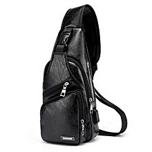 Men Outdoor Shoulder Chest Bag Travel Daypack with USB Charging Port