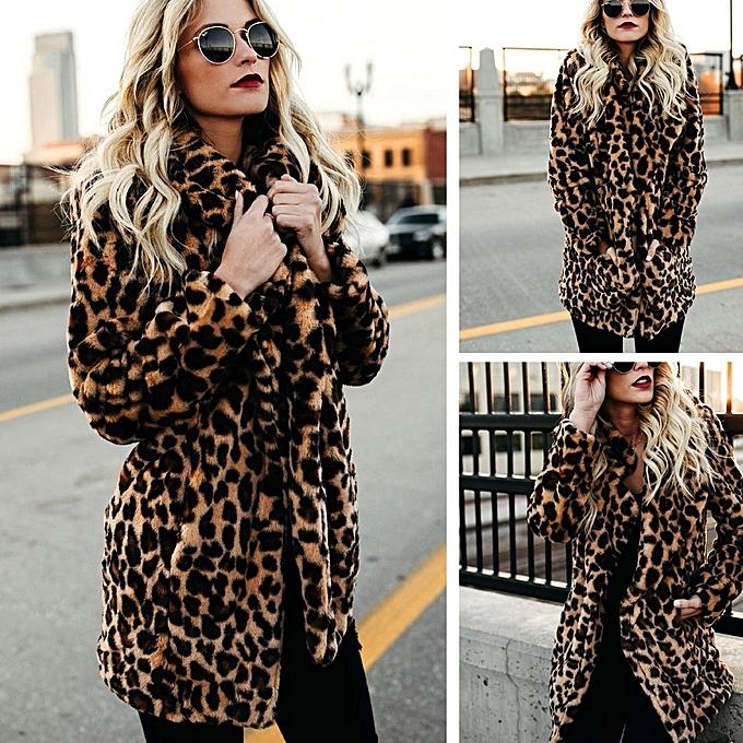 fd595b2d36b Women Warm Winter Top Sweatshirt Ladies Leopard Print Pullover Jumper Coat