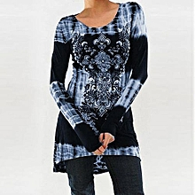 Fashionable Womens Rock Style African Print Shirt Long Sleeve Top High Low Hem Tunics Blouse-blue