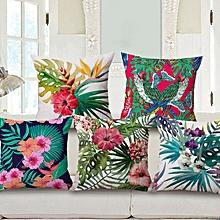 Decorative Throw Pillow Case Fashion Cotton Linen Tropical plant Flowers Grass Cushion Cover