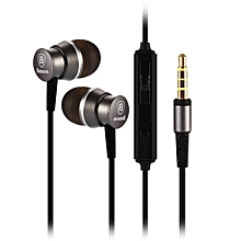 Stereo Wired In-ear Earphones with Microphone - Gray