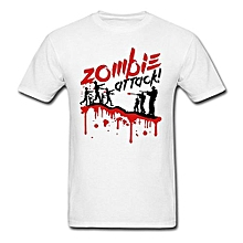 Zombie Attack Personalised Custom Printed White Men's Cotton T-shirt
