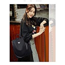 Fashionable PU Leather Anti-theft Women's Handbag Shoulder Backpack Bag (Black)