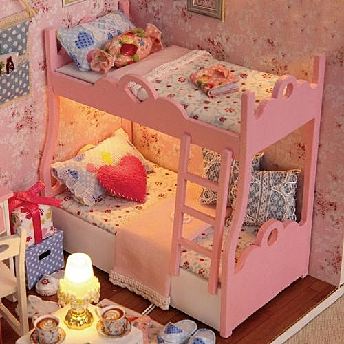 Sensational Braveayong Diy 3D Dollhouse Paper Miniature Furniture Kit Led Light Kids Grils Gift Multicolor Interior Design Ideas Tzicisoteloinfo