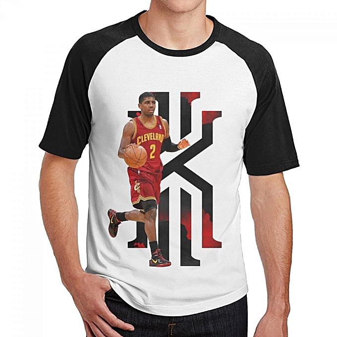 new concept c2d3e c3165 Cleveland Cavaliers Kyrie Irving Men's Cotton Short Baseball Raglan Sleeves  T-Shirt Black
