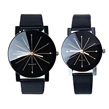 couple Quartz Dial Clock Leather Wrist Watch Black