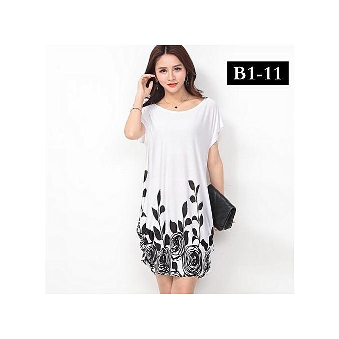 88cc5c3b372d Generic Hot Super Big Size Dresses For Ladies Loose O-neck Short Sleeve  Casual Floral Mini Dresses B1-11black White Rose