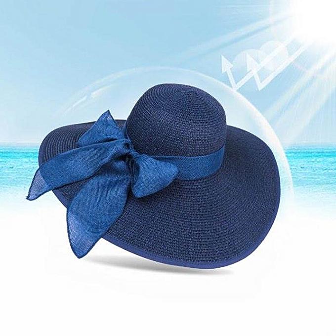 9dac18bc6 Fashion Summer Women Boater Beach Hat Female Casual Hat Big Wide Brim Beach  Hat Bow Straw Hat For Girls Best Gift(Navy blue)