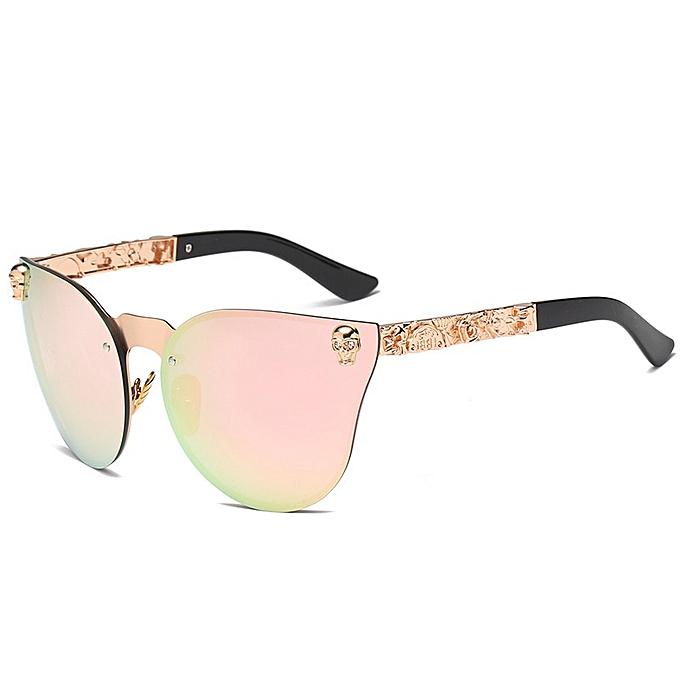 50ddd2161 Generic 2019 Fashion Women Gothic Sunglasses Skull Frame Metal Temple Sun glasses  Oculos De Sol Feminino Luxury(C7-Gold-Pink)
