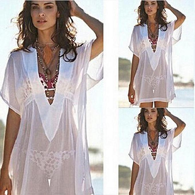 singedan Women Chiffon Cover Up Swimsuit Swimwear Beach Shirt Dress Bathing  Suit -White e078d0b07b