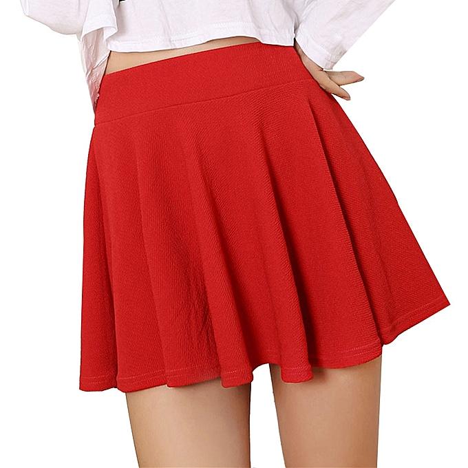 8b86004ea3 Women Lady High Waist Plain Skater Flared Pleated Short Mini Skirt Shorts  Skirts-Red