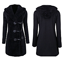 Hiamok Women Fashion Winter Plus Thick Warm Buttons Coat Overcoat Parka Hoodie Outwear