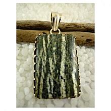 Green Serpentine with vertical white stripes Semi Precious Gemstone in 925' Sterling Silver Pendant.
