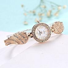 Luxury Women's  LVPAI Wrist Watches Classic Ladies Women Unisex Stainless Steel Rhinestone Quartz Wrist Watch D-Gold