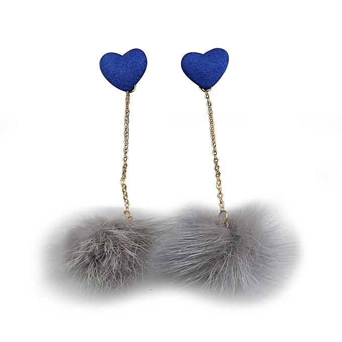 Sanwood Long Heart Fur Ball Tassel Earrings Party Jewelry Gift-Blue ... 6891fd2d35