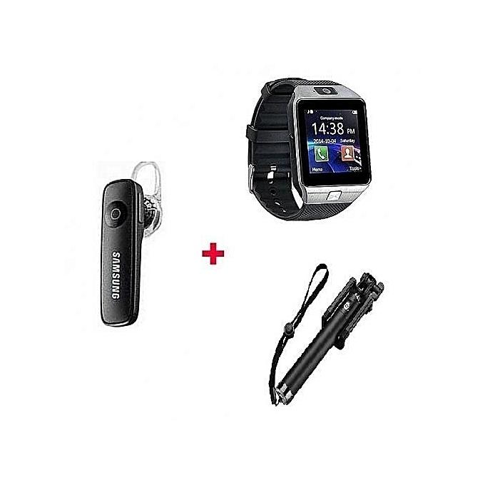 Dz09 Smart Watch Phone + Handsfree Earphone + Selfie Stick - Silver  Black