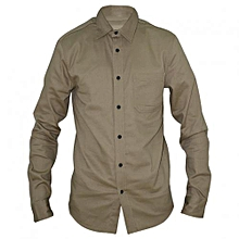 Beige Long Sleeved Mens Basic Shirts