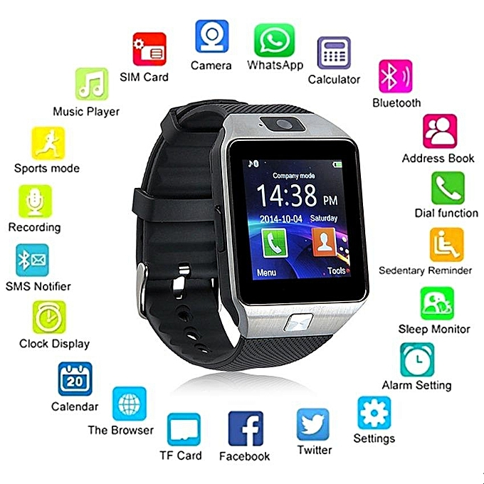 Generic Wearable Devices Dz09 Smart Watch Support Sim Tf Card