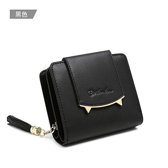 black Boston Springs 2018 new short leather small wallet ladies mini  Korean version of e4fa1c997a