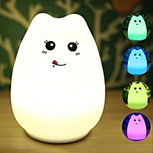 Silicone LED Night Light Portable Cat Night Lamp For Kids Baby Bedroom 7-Color - RGB
