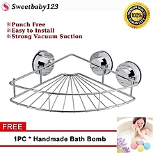 [Free Gift] Sweetbaby Triangle Stainless Steel Shower Shelf Storage With Vacuum Suction Cup Kitchen Bathroom
