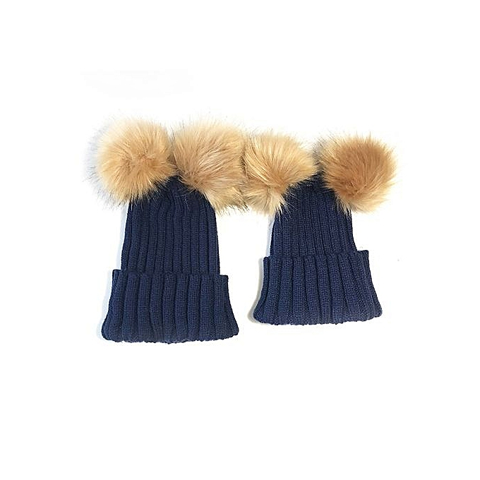 31521abfca7 Braveayong 2PC Mom And Baby Kids Double Ball Winter Beanie Hat Cap Wool Knit  Fur NY