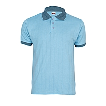 Sky Blue Men's T-Shirt With Checked Collar