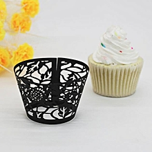 New! Leaves Lace Laser Cut Cupcake Wrapper Liner Baking Cup Muffin -Black