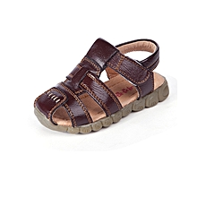 Open Dark Brown Boys' Sandals with rubber soles.