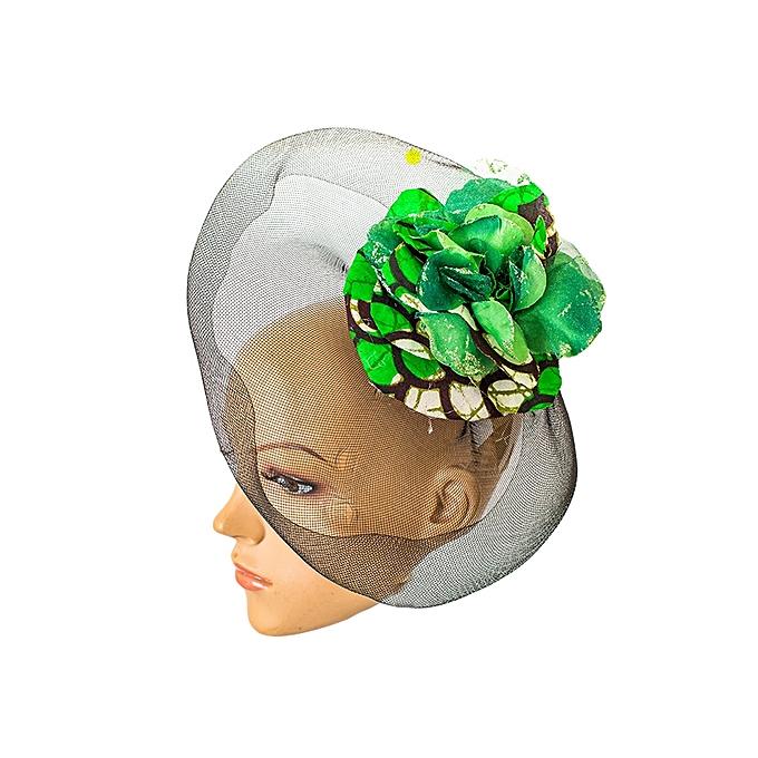 Black Crinolene Fascinator Hat Embellished With Green African Print Flower fa6c5000c3d