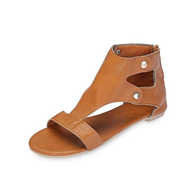 2cfae6a11c1ba1 Generic Stylish Women Flat Shoes Rivets Zipper Sandals -BROWN   Best ...