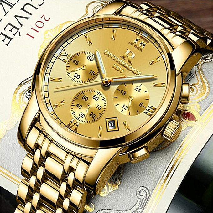 662999d1b0f ... Mens Luxury Gold Wristwatches Male Brand Watches Quartz Man Clocks  Waterproof Stainless Steel Fashion Business Luminous ...