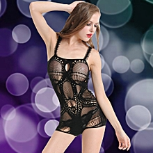 65cea0caebcd New Sexy Women Lingerie Sleep Dress Sheer Mesh Lace Trim Backless Mini  Dress Sleepwear Black