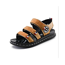 Leather Open Brown Boys' Sandals with rubber soles.