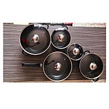 10 Piece Non-Stick Cookware Pot Set - Black