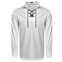 Men Long Sleeve Turn Down Collar Front Lace-up Casual Shirt ( White )