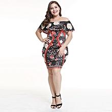 Plus Size Ankara Gown Style Off Shoulder A Line Dresses-Multi