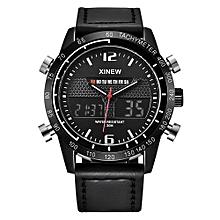 Mens Army Military Watch Waterproof Sports LED Digital Analog Leathe Wrist Watch