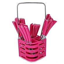 24 Pieces Cutlery Set With Caddy - Pink