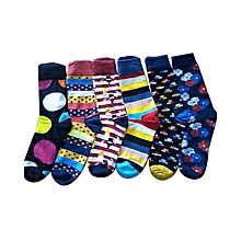 Assorted Happy Socks for Men - 6 Pairs - Various Colours - Colours May Vary