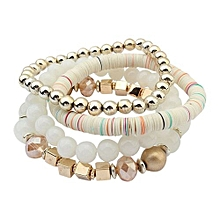 Women's Beads Multilayer Bangle Infinity Handmade Wrap Bracelets 4 Pcs White