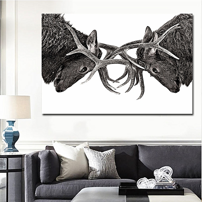 Modern Wall Home Decor Elk Canvas Pritn 1pc Blackwhite Jumia Kenya