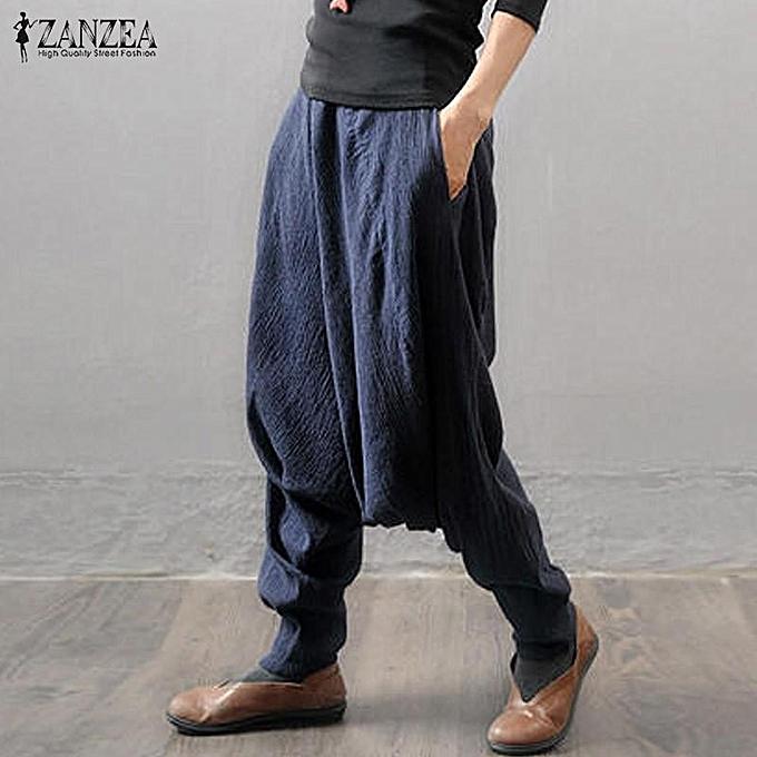 e90289d2003 ... Pantalon Plus Size Navy · ZANZEA Women Retro Baggy Elastic Waist Cotton Long  Harem Pants Pockets Solid Drop-Crotch Trousers