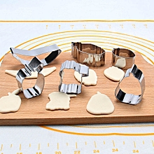 6 Pcs Packed Stainless Steel Cookie Dessert Fruit Cutter DIY Mould Baking Tool-Silver