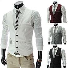 Men's Hot Sale Fashion Men Slim Fit Formal Casual Dress Vest Suit Tuxedo Waistcoat Jacket Coats-white