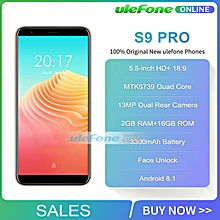 Ulefone S9 Pro 5.5 inch HD+ Smartphone Android 8.1 MTK6739 Quad Core 2GB RAM 16GB ROM 13MP+5MP Dual Rear Cameras 4G